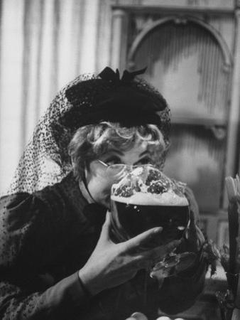 """Lucille Ball Drinking Beer Between Scenes of a Skit in Show Called """"The Good Years"""""""