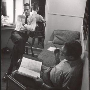 "Movie Director Vince Sherman with Actor Paul Newman Reviewing Script of ""The Young Philadelphians"" by Leonard Mccombe"
