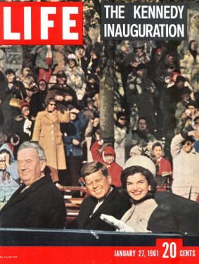 Newly-Elected President John F. Kennedy and Wife Jacqueline Enroute to the White House, January '61 by Leonard Mccombe