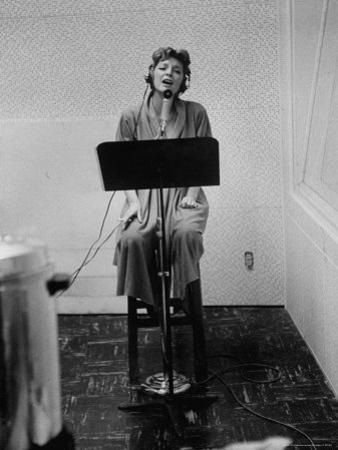 Singer Julie London Singing During a Recording Session