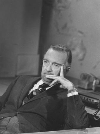 TV Newscaster Walter Cronkite, Preparing for His TV Show