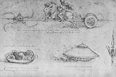 'A Chariot Armed with Scythes, Two Drawings of a Sort of Tank and a Partisan', c1480 (1945) by Leonardo Da Vinci