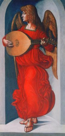 An Angel in Red with a Lute, 1490-1499 by Leonardo da Vinci