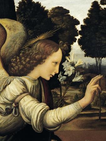 Announcing Angel, Detail from Annunciation, 1472-1475 by Leonardo da Vinci