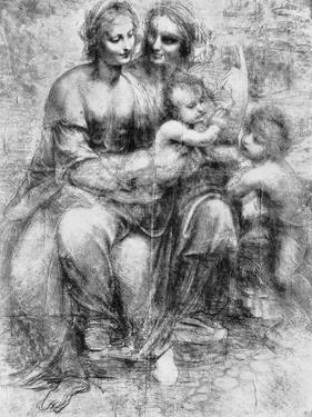 Cartoon of St Anne with Madonna and Child and St John, 15th Century by Leonardo da Vinci