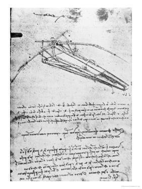 Design For a Flying Machine, Folio 74V 143, c.1488 by Leonardo da Vinci
