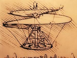 Design for Spiral Screw Enabling Vertical Flight by Leonardo da Vinci