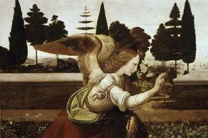 Detail of the Annunciation, no.1 by Leonardo da Vinci