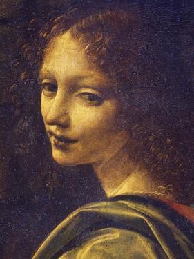 Face of Angel, Detail from Virgin of Rocks, 1483-1490 by Leonardo da Vinci