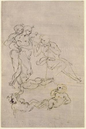 Figural Study for the Adoration of the Magi by Leonardo da Vinci