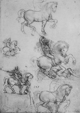 'Five Studies of Horses and Riders', c1480 (1945) by Leonardo Da Vinci