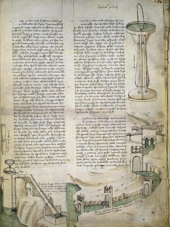 Fountain, Watercourse with System of Locks, Machine for Lifting Water, from Codex Ashburnham 361