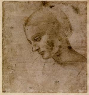 Head of a Young Woman or Head of the Virgin, c.1490 by Leonardo da Vinci