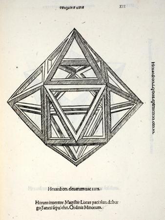 Hexaedron Elevatum Vacuum, Illustration from 'Divina Proportione' by Luca Pacioli (C.1445-1517),… by Leonardo da Vinci