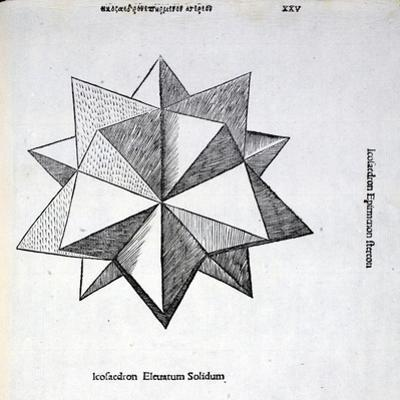 Icosaedron Elevatum Solidum, Illustration from 'Divina Proportione' by Luca Pacioli… by Leonardo da Vinci