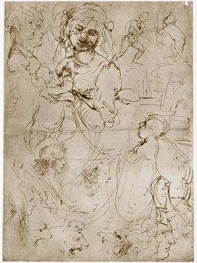 Kneeling Madonna with the Child and St.John, 1478-1480 by Leonardo da Vinci