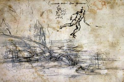 Landscape, Profile and Male Figure by Leonardo da Vinci
