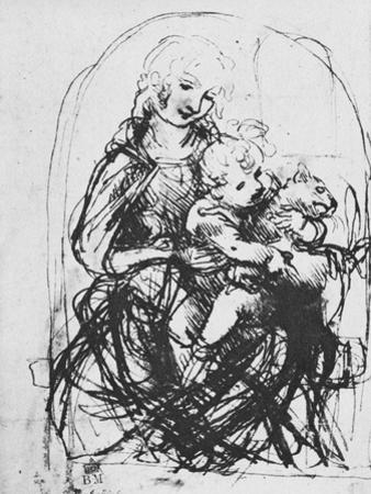 'Madonna and Child with a Cat', 1478-1481 (1945) by Leonardo Da Vinci