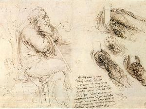 Old Man and Water Studies, 1513 by Leonardo da Vinci