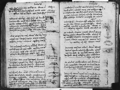 Paris Manuscript E, Fol. 53V and 54R: Sketch Depicting the Flight of Birds, 1513-14 by Leonardo da Vinci