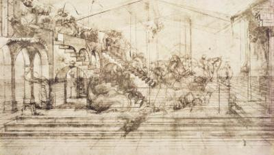 Perspective Study For the Background of the Adoration of the Magi by Leonardo da Vinci