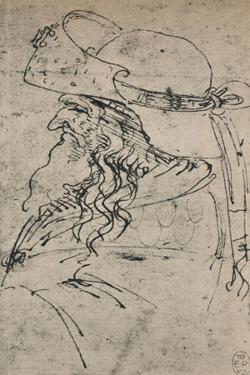 'Profile to the Left of an Old Man in a Large Hat', c1480 (1945) by Leonardo Da Vinci