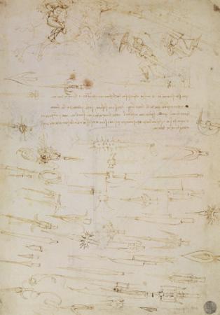 Sheet of Studies of Foot Soldiers and Horsemen in Combat, and Halbards, 1485-1488 by Leonardo da Vinci