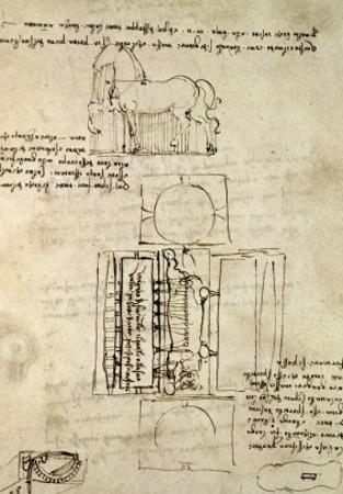 Sketch of a Horse and Various Other Diagrams by Leonardo da Vinci