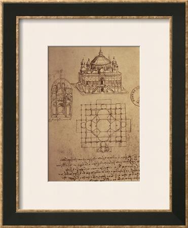 Sketch of a Square Church with Central Dome and Minaret by Leonardo da Vinci