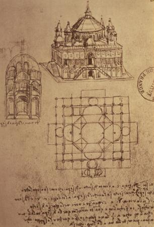 Sketch of a Square Church with Central Dome and Minaret
