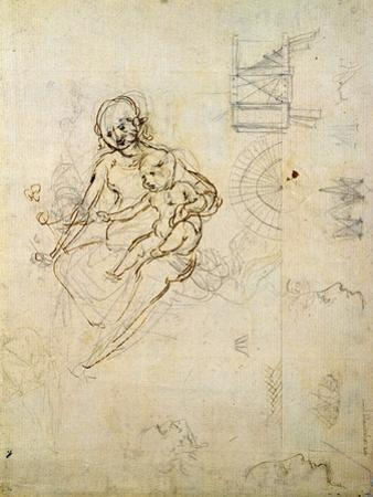 Studies for a Virgin and Child and of Heads in Profile and Machines, C.1478-80 by Leonardo da Vinci