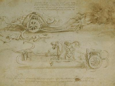 Studies of Assault Wagons Fitted with Scythes by Leonardo da Vinci
