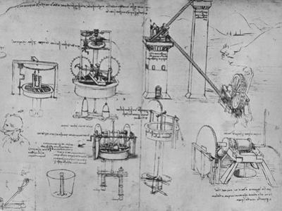 'Studies of Suction Pumps, Archimedes Tubes, Etc.', c1480 (1945) by Leonardo Da Vinci
