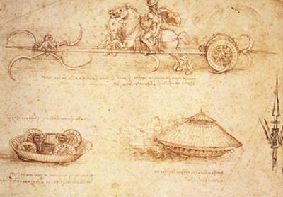 Studies of War Machines, 1485 by Leonardo da Vinci
