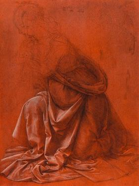 Study for the Folds of a Garment of a Female Figure Silverpoint Drawing by Leonardo da Vinci