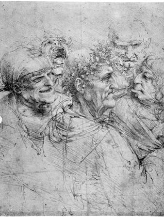Study of Five Grotesque Heads, C1494