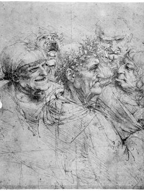 Study of Five Grotesque Heads, C1494 by Leonardo da Vinci