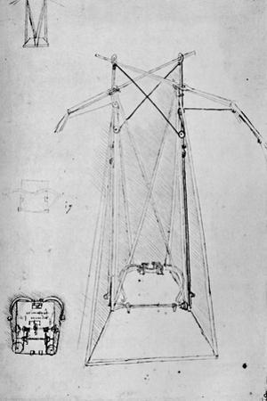 'Study of Motive Apparatus of Flying Machine with Ground Plan of Mechanism of Base', 1928 by Leonardo Da Vinci