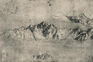 'Study of Mountain Ranges', c1480 (1945) by Leonardo Da Vinci