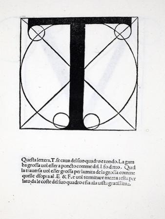 T, Illustration from 'Divina Proportione' by Luca Pacioli (C.1445-1517), Originally Pub. Venice,… by Leonardo da Vinci
