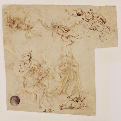 The Adoration of the Child by the Virgin Mary, with Other Figures and Angels by Leonardo da Vinci