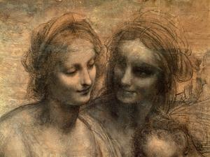 The Virgin and Child with Ss. Anne and John the Baptist, Detail of Heads of the Virgin and St. Anne by Leonardo da Vinci
