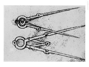 Two Types of Adjustable-Opening Compass, Paris Manuscript H, 1493-4 by Leonardo da Vinci