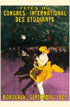 Celebrations of the International Student Congress - Bordeaux, France - September 1907 by Leonetto Cappiello