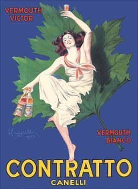 Contratto Canelli - Vermouth Victor - Vermouth Bianco - Italian Liquor by Leonetto Cappiello
