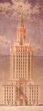 Project for the Skyscraper of the Leningradskaya Hotel on Komsomolskaya Square, End of 1940s by Leonid Mikhaylovich Polyakov
