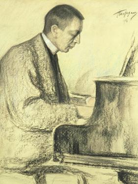 Portrait of Sergei Vasilievich Rachmaninov at the Piano, 1916 by Leonid Osipovic Pasternak