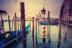 Amazing View of Grand Canal at Sunset. San Marco, Venice, Italy, Europe. Beauty World. Retro Style by Leonid Tit