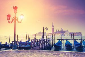 Amazing View of Grand Canal at Sunset with San Giorgio Maggiore Church. San Marco, Venice, Italy, E by Leonid Tit