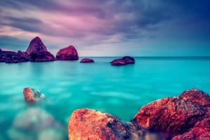 Fantastic Morning Blue Sea Glowing by Sunlight. Dramatic Scene. Black Sea, Crimea, Ukraine, Europe. by Leonid Tit